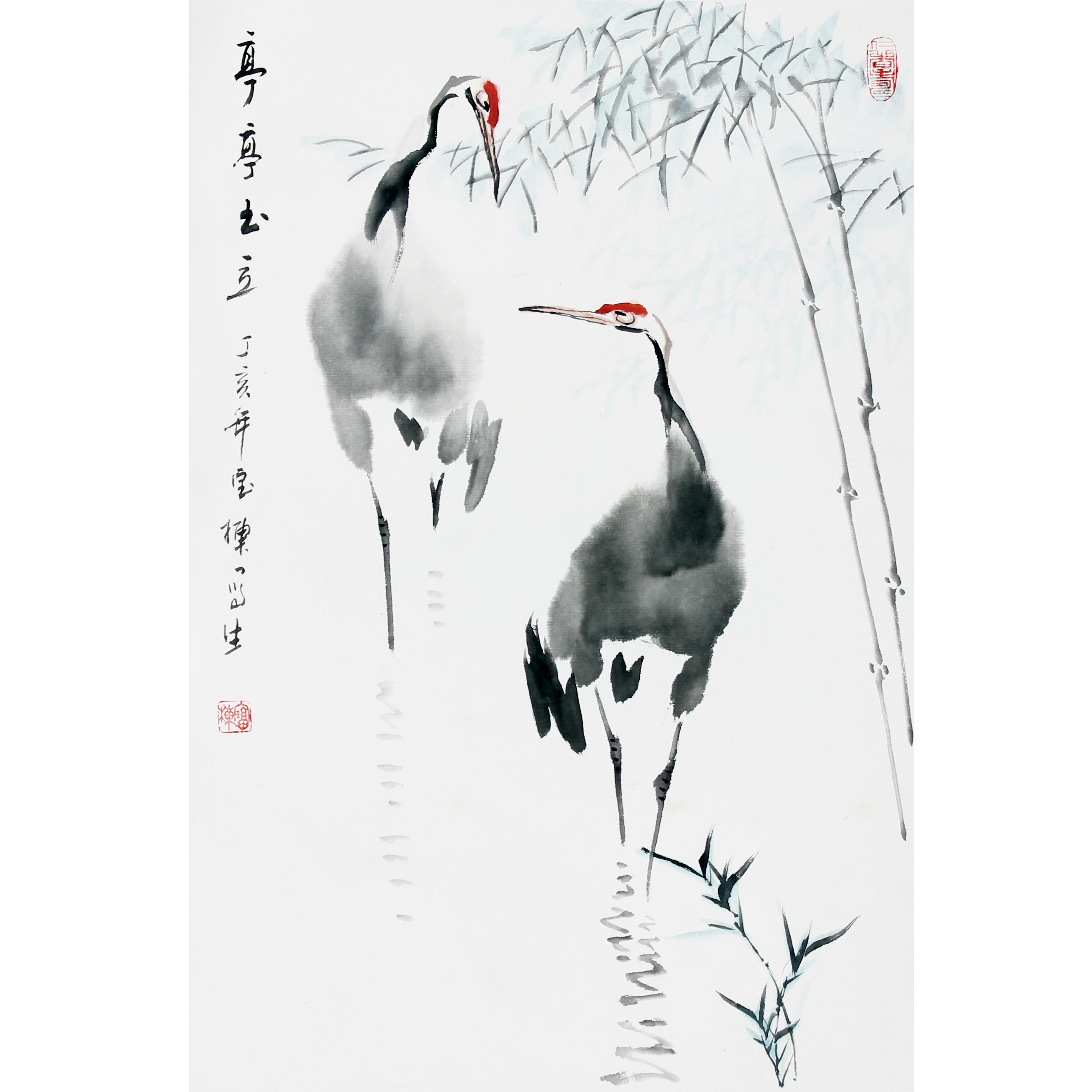 丁宝栋鹤鸣中国梦国画图片